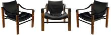Maurice BURKE (XX) - Ensemble de 3 fauteuils «Safari»