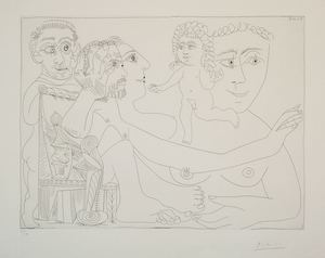 Pablo PICASSO (1881-1973) - Groupe avec homme dans un fauteuil à boules et balustres...