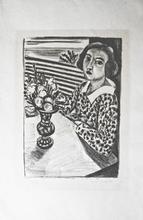 Henri MATISSE (1869-1954) - Jeune fille assise au bouquet des fleurs