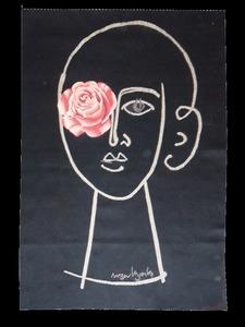 Roger BEZOMBES (1913-1994) - Portrait à la rose