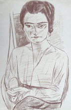 """Max BECKMANN (1884-1950) - """"Young Woman"""" (Portrait of Naila, """"Mrs H.M."""" )"""