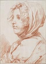Jean-Baptiste GREUZE (1725-1805) - Portrait de profil gauche d'une jeune femme au bonnet