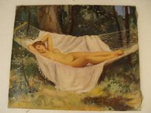 Maurice Ambroise EHLINGER (1896-1981) - Nu allongé dans un hamac,1970.