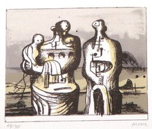 Henry MOORE (1898-1986) - *Group In Industrial Landscape C. 418