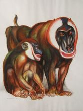 André MARGAT (1903-1999) - Couple de singes mandrilles