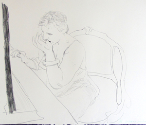David HOCKNEY (1937) - Celia - Adjusting her Eyelash