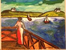 Christian DURIAUD (1944) - Femme au bord de la mer ( Hommage à Emile Bernard)