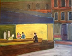 Christian DURIAUD (1944) - Noctambules (Hommage à Edward Hopper)
