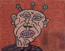 Robert COMBAS (1957) - Tête d'extra-terrestre de bande dessiné posant derrière alph