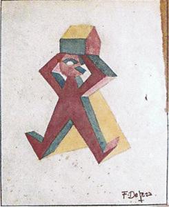 """Fortunato DEPERO (1892-1960) - """"UOMO-CASA"""""""