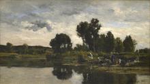 Karl Pierre DAUBIGNY (1846-1886) - Laundresses on the banks of a stream