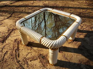 Tommaso BARBI (XX) - Ceramic Mirrored Glass Coffee Table