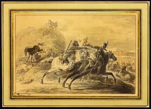 Jean-Baptiste LE PAON (1738-1785) - Combat d'un hussard contre un dragon
