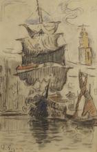 Paul SIGNAC (1863-1935) - Voiliers au Sec à Saint-Tropez