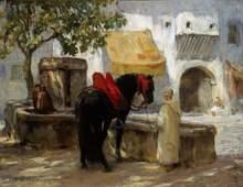 Frederic Arthur BRIDGMAN (1847-1928) - Cheval à la Fontaine