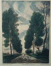 "Bela SZIKLAY (XX) - ""Volver la Casa"" and ""Le Ruisseau"" - a pair of etchings"