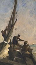 Karl Pierre DAUBIGNY (1846-1886) - Pêcheurs à bord d'un bateau