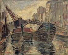 Fernand LAVAL (1886-1966) - Péniches à quai