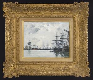 Eugène BOUDIN (1824-1898) - Port de Mer. Un Bassin. Effet du Matin, c.1880-1885
