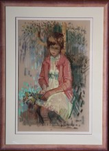 Paul COLLOMB (1921-2010) - jeune fille au bouquet