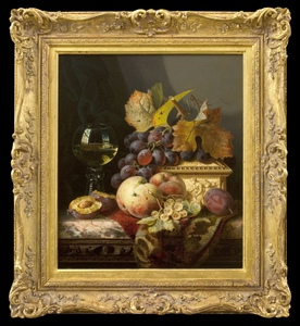 Edward LADELL (1821-1886) - Still Life with Plums, Grapes, and White Currants