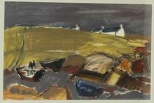René QUÉRÉ (1932) - Paysage breton avec barques