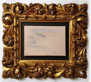 Henri Edmond CROSS (1856-1910) - Paysage animé aux abords d'un cours d'eau
