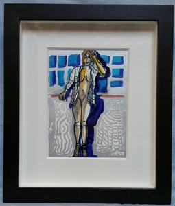 "Robert COMBAS (1957) - Robert COMBAS  ""Jeune femme nue à la veste à carreaux"""