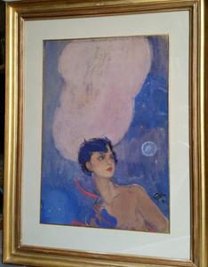"Jean Gabriel DOMERGUE (1889-1962) - Jean-Gabriel DOMERGUE  ""La belle chasseresse"""