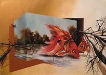 Eka PERADZE (1974) - 3D goldfish.50x70cm