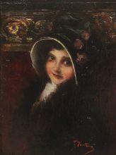 Ernesto FONTANA (1837-1918) - Portrait de jeune fille à l'Opéra