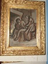 "René SEYSSAUD (1867-1952) - René  SEYSSAUD  ""Couple âgé devant l'âtre"""