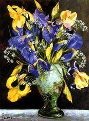 Bouquet d'iris au vase Daum
