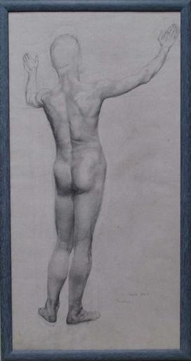 """Emilie MEDIZ-PELIKAN - Drawing-Watercolor - """"Male Nude"""" by Emilie Mediz-Pelikan"""
