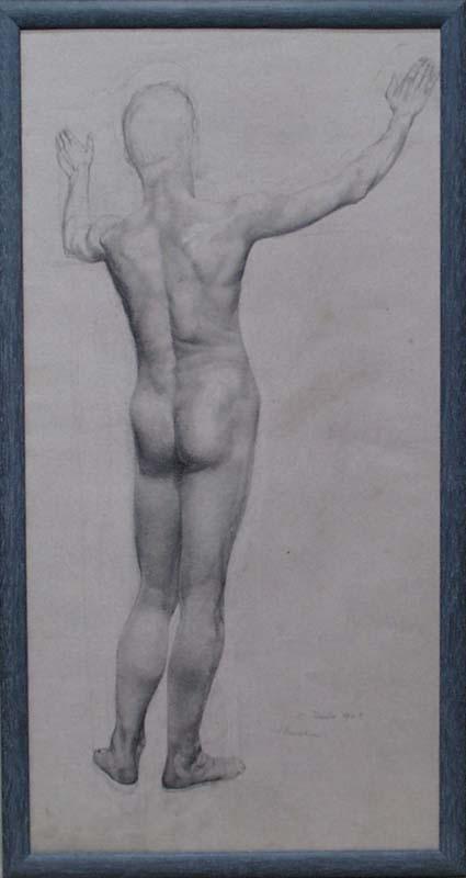 "Emilie MEDIZ-PELIKAN - Zeichnung Aquarell - ""Male Nude"" by Emilie Mediz-Pelikan"