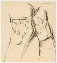 "Boris DEUTSCH - Dibujo Acuarela - ""Two Jews"", drawing"