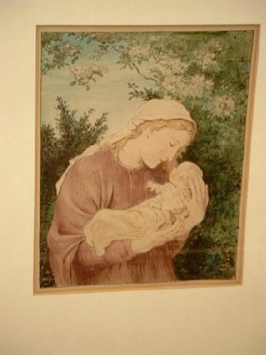 Wilhelm August Theodor STEINHAUSEN - Dibujo Acuarela - Mutter mit Kind