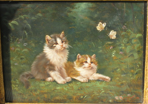 Benno KÖGL - Painting - Katzenbabys beobachten zwei Schmetterlinge