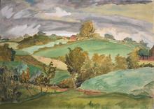 Erich HECKEL - Dibujo Acuarela - Hills in Angeln | Hügel in Angeln