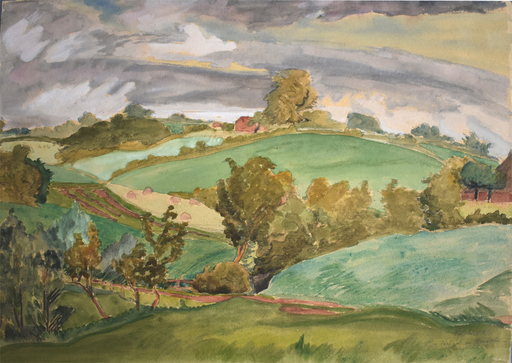 Erich HECKEL - Disegno Acquarello - Hills in Angeln | Hügel in Angeln