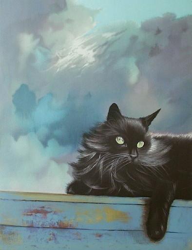 Michèle BATTUT - Grabado - Le chat gris