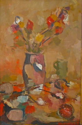 Kosta KRIVOKAPIC - Painting - Bouquet de fleurs dans un vase.