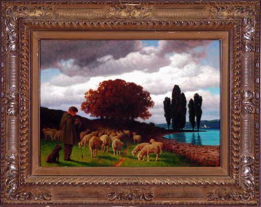 Hermann Traugott RÜDISÜHLI - Pintura - Schäfer mit Schafen in Landschaft vor Gewässer