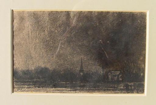 Rudolf DREHER - Dibujo Acuarela - Sartrouville,à la tombée de la nuit