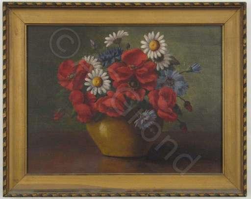 Jeanne LECHLEITNER - Painting - Sommerstrauss in senffarbener Vase