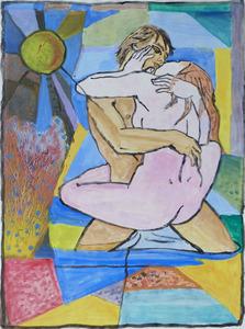 Jacob GILDOR - Drawing-Watercolor - Couple - Homage to Tremois