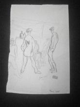 Jules PASCIN - Disegno Acquarello - Deux hommes