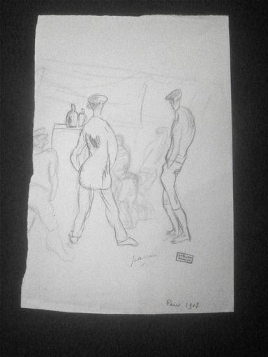 Jules PASCIN - Drawing-Watercolor - Deux hommes
