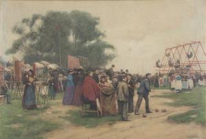 Alberto PISA - Drawing-Watercolor - Parco dei divertimenti