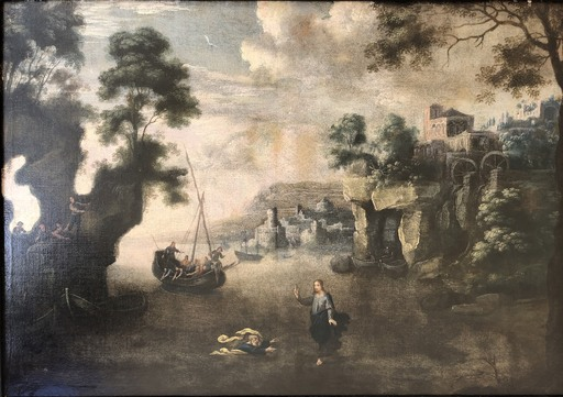 Salvator ROSA - Painting - PAISAJE LA LLAMADA DE SAN PEDRO